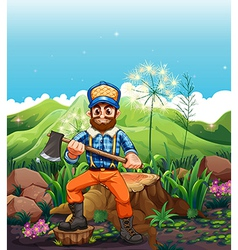 A lumberjack cutting the trees near the mountain vector image