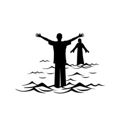 A man walks the water towards jesus christ vector