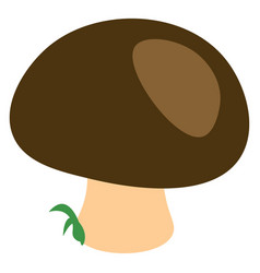 a mushroom with green top or color vector image