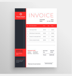 Abstract red theme business invoice template vector