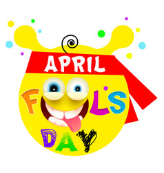 april fools day yellow funny smile vector image
