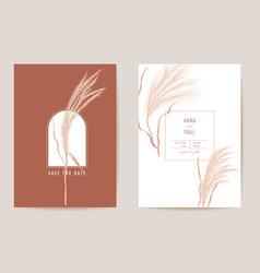 Art deco modern wedding invitation pampas grass vector