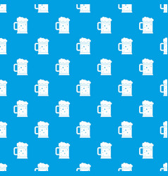 beer mug pattern seamless blue vector image