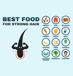 best food for strong hair strong healthy vector image