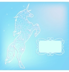 Blue background with unicorn vector