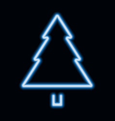 blue neon christmas tree pine tree icon vector image