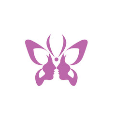 Butterfly double face ladies logo beauty vector