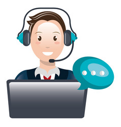 Call center agent with headset and laptop vector