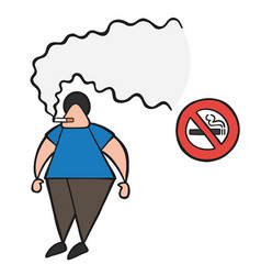 cartoon man smoking cigarette beside no smoking vector image