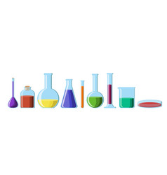 Chemical glassware with bright colorful solutions vector