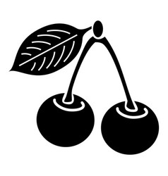 cherry icon simple black style vector image