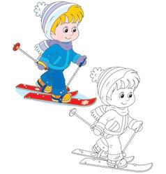 Child skiing vector