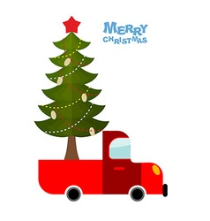 Christmas tree in car Truck carries decorated vector image