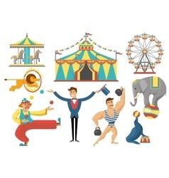 Circus Decorative Flat Icons Set vector