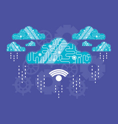 cloud computing with wifi connection vector image