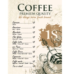 coffee list vector image