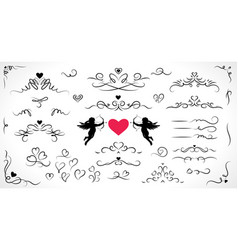 collection flourish elements for wedding vector image