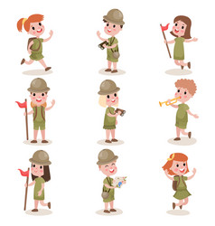 Collection of children scouts camping outfit vector