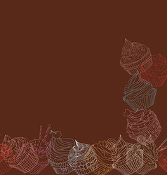 Cupcake border pattern vector