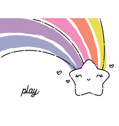 Cute and funny smiling star with rainbow tail vector