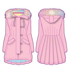 Cute coat with multicolored lining vector