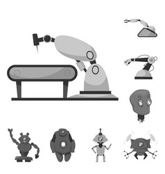 design of robot and factory sign vector image