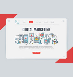 digital marketing landing page web design vector image