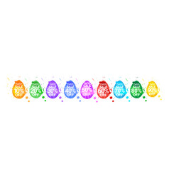 easter sale stickers set of eggs with paint splash vector image