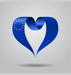 european union flag heart-shaped ribbon vector image