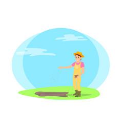 Farmer sowing seeds into garden beds cartoon icon vector