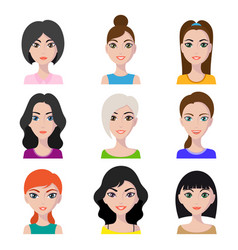 female characters set vector image