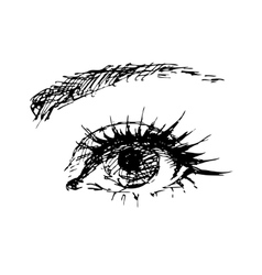 female eye carelessly drawn vector image