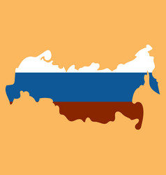Flag map russia vector