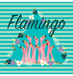 Flamingo with Tropical Flowers Background vector