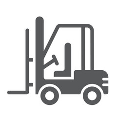 forklift glyph icon automobile and cargo truck vector image