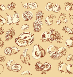 freehand drawing fruit seamless pattern vector image
