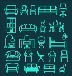 furniture set icons Home interior Living Furniture vector image
