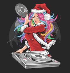 girl santa claus christmas dj party artwork vector image