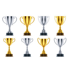 golden and silver cup awards champion trophy vector image