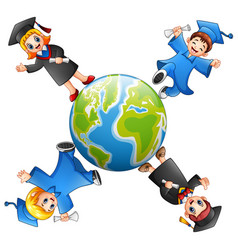 Graduates kids standing around the earth vector