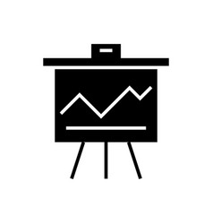 Graph on flipchart icon vector