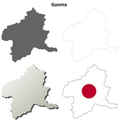 Gunma blank outline map set vector image