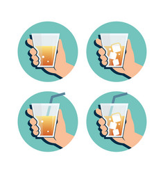 hand holding drink vector image