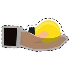 Hand holding lightbulb idea icon image vector