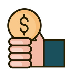 Hand with coin money financial business stock vector