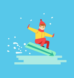 Happy boy snowboarder sliding down the hill vector