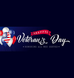 happy veterans day poster blue usa with balloons vector image