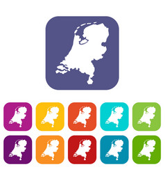 holland map icons set vector image