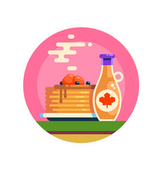 Hot tasty pancakes with berries and maple syrup vector