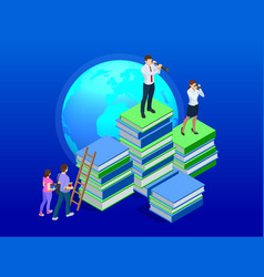 isometric distance education online courses e vector image